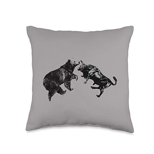 Trading Bull and Bear Stock Market Forex Trader Throw Pillow, 16×16, Multicolor